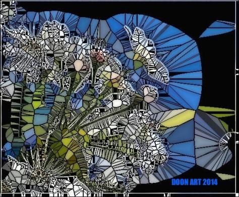Doon Art wht flower glass